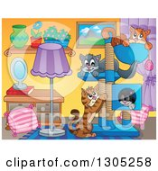 Clipart Of A Cartoon Living Room Interior With Cats Playing And Sleeping On A Tree Royalty Free Vector Illustration
