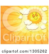 Clipart Of A Cartoon Pleasant Sun With Puffy Clouds Flares And Sunset Rays Royalty Free Vector Illustration