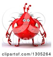 Clipart Of A 3d Red Germ Monster Royalty Free Illustration by Julos