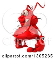 Clipart Of A 3d Red Germ Virus Facing Right And Wearing Boxing Gloves Royalty Free Illustration