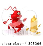 Clipart Of A 3d Red Germ Virus Chasing A Yellow Condom To The Right Royalty Free Illustration by Julos