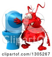 Clipart Of A 3d Red Germ Virus Looking In A Blue Toilet Royalty Free Illustration