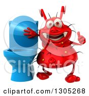 Clipart Of A 3d Red Germ Virus Giving A Thumb Up By A Blue Toilet Royalty Free Illustration