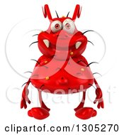 Clipart Of A 3d Red Germ Virus Royalty Free Illustration by Julos