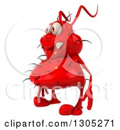 Clipart Of A 3d Red Germ Virus Facing Left Royalty Free Illustration