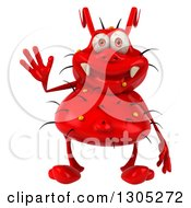 Clipart Of A 3d Red Germ Virus Waving Royalty Free Illustration