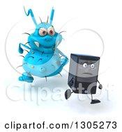 Poster, Art Print Of 3d Blue Germ Virus Monster Chasing A Computer Tower