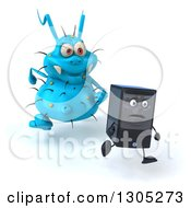 Clipart Of A 3d Blue Germ Virus Monster Chasing A Computer Tower Royalty Free Illustration by Julos