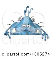 Clipart Of A 3d Blue Germ Monster Pointing Down Over A Sign Royalty Free Illustration by Julos