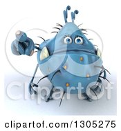 Clipart Of A 3d Blue Germ Monster Pointing Outwards Royalty Free Illustration