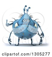 Clipart Of A 3d Blue Germ Monster Giving A Thumb Up Royalty Free Illustration by Julos