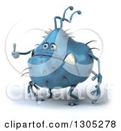 Clipart Of A 3d Blue Germ Monster Facing Slightly Left And Giving A Thumb Up Royalty Free Illustration