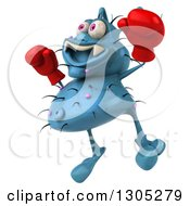 Clipart Of A 3d Blue Germ Virus Facing Slightly Left Wearing Boxing Gloves And Jumping Royalty Free Illustration by Julos