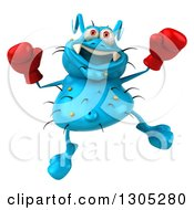 Clipart Of A 3d Blue Germ Virus Wearing Boxing Gloves And Jumping Royalty Free Illustration