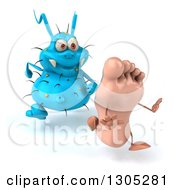 Clipart Of A 3d Blue Germ Virus Chasing A Foot Royalty Free Illustration by Julos