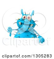 Clipart Of A 3d Blue Germ Virus Giving A Thumb Down Over A Sign Royalty Free Illustration by Julos