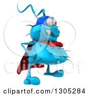 Clipart Of A 3d Blue Germ Virus Super Hero Facing Right Royalty Free Illustration by Julos