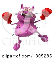 Clipart Of A 3d Purple Germ Virus Wearing Boxing Gloves And Jumping Royalty Free Illustration