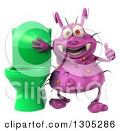 Clipart Of A 3d Purple Germ Virus Giving A Thumb Up By A Green Toilet Royalty Free Illustration