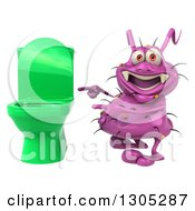 Clipart Of A 3d Purple Germ Virus Pointing At A Green Toilet Royalty Free Illustration