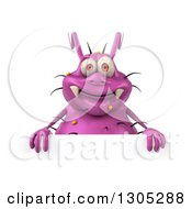 Clipart Of A 3d Purple Germ Virus Smiling Over A Sign Royalty Free Illustration by Julos