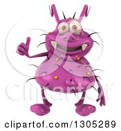 Clipart Of A 3d Purple Germ Virus Giving A Thumb Up Royalty Free Illustration by Julos