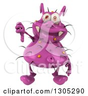 Clipart Of A 3d Purple Germ Virus Giving A Thumb Down Royalty Free Illustration by Julos