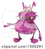 Clipart Of A 3d Purple Germ Virus Presenting Royalty Free Illustration by Julos
