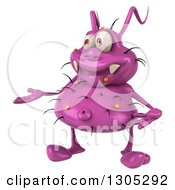 Clipart Of A 3d Purple Germ Virus Presenting To The Left Royalty Free Illustration by Julos