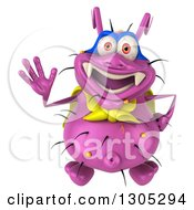 Clipart Of A 3d Purple Germ Virus Super Hero Looking Up And Waving Royalty Free Illustration by Julos