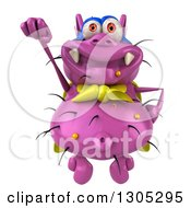 Clipart Of A 3d Purple Germ Virus Super Hero Flying Royalty Free Illustration by Julos