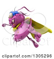 Clipart Of A 3d Purple Germ Virus Super Hero Flying To The Left Royalty Free Illustration by Julos