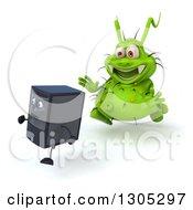 Poster, Art Print Of 3d Green Germ Virus Monster Chasing A Computer Tower