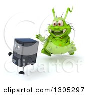 Clipart Of A 3d Green Germ Virus Monster Chasing A Computer Tower Royalty Free Illustration