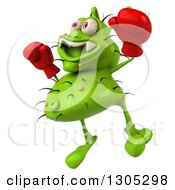 Clipart Of A 3d Green Germ Virus Wearing Boxing Gloves Facing Slightly Left And Jumping Royalty Free Illustration
