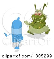 Clipart Of A Cartoon Green Germ Virus Chasing A Blue Condom Royalty Free Illustration