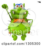 Clipart Of A 3d Green Germ Virus Super Hero Flying Royalty Free Illustration