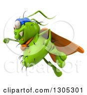 Clipart Of A 3d Green Germ Virus Super Hero Flying To The Left Royalty Free Illustration