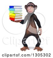 Clipart Of A 3d Chimpanzee Holding A Stack Of Books Royalty Free Illustration