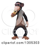 Clipart Of A 3d Chimpanzee Monkey Eating A Waffle Ice Cream Cone Royalty Free Illustration