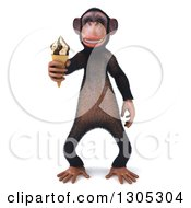 Clipart Of A 3d Chimpanzee Monkey Holding A Waffle Ice Cream Cone Royalty Free Illustration