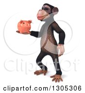 Clipart Of A 3d Chimpanzee Monkey Facing Left And Holding A Piggy Bank Royalty Free Illustration