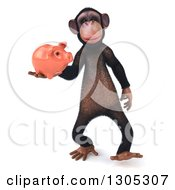 Clipart Of A 3d Chimpanzee Monkey Walking With A Piggy Bank Royalty Free Illustration