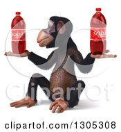 Clipart Of A 3d Chimpanzee Monkey Facing Slightly Left Sitting And Holding Soda Bottles Royalty Free Illustration