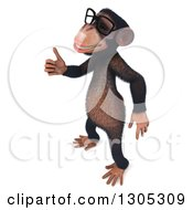 Clipart Of A 3d Bespectacled Chimpanzee Monkey Facing Left And Holding Up A Finger Royalty Free Illustration