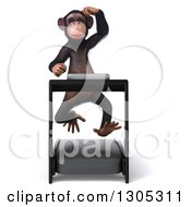 Clipart Of A 3d Chimpanzee Monkey Scratching His Head And Running On A Treadmill Royalty Free Illustration