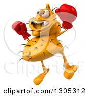 Clipart Of A 3d Yellow Germ Virus Wearing Boxing Gloves Facing Slightly Left And Jumping Royalty Free Illustration