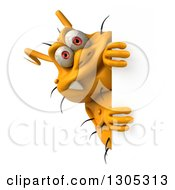Clipart Of A 3d Yellow Germ Virus Looking Around A Sign Royalty Free Illustration