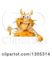 Clipart Of A 3d Yellow Germ Virus Giving A Thumb Down Over A Sign Royalty Free Illustration
