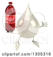 Clipart Of A 3d Milk Lotion Shampoo Or Liquid Soap Drop Character Facing Slightly Right Jumping And Holding A Soda Bottle Royalty Free Illustration